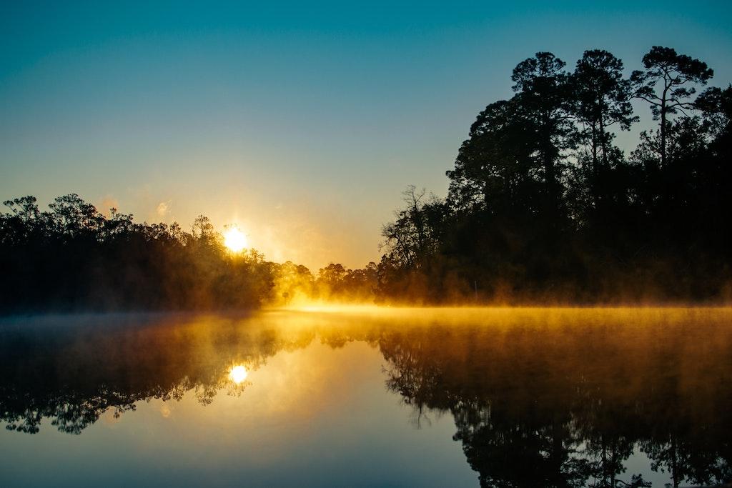 See mit Sonnenaufgang und Silhouetten von Bäumen